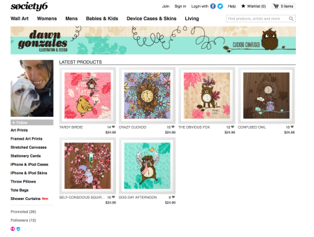 My new line of products for sale at Society6.